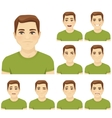 Young man expression set vector image