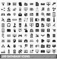 100 database icons set simple style vector image vector image