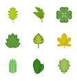 forest leaves icons set cartoon style vector image