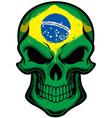 Brazil flag painted on skull vector image vector image