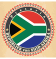 Vintage label cards of South Africa flag vector image vector image