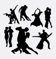 Tango couple dancer silhouettes vector image