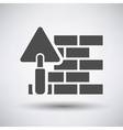 Brick wall with trowel icon vector image vector image