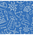 nautical sketch doodle icons seamless light blue vector image