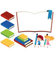 books and happy children on white background vector image