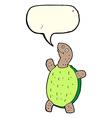 Cartoon happy turtle with speech bubble vector image