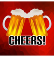 cheers banner with two tasty beers abstract low vector image