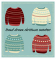 hand drawn christmas sweaters vector image