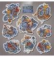 Set of Winter season doodle cartoon stickers vector image