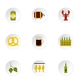 Beer festival icons set flat style vector image