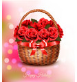 holiday background with red flowers and basket vector image