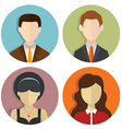 Set of avatar flat design icons on white vector image