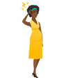 African pregnant woman with lightning over head vector image