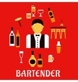 Bartender with cocktails Profession flat concept vector image