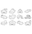 car icon set outline style vector image