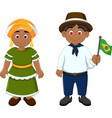 cute couple brazilians cartoon with national cloth vector image