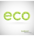 eco background with green transparent balloons vector image