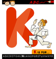 letter k with karate cartoon vector image