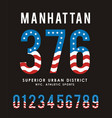 manhattan set number textured flag usa vector image
