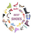 set of best shoes for man and woman flat design vector image