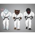 set of cartoon sports man-sharkman-bear and man vector image