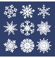 Set of white paper snowflakes vector image