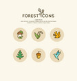 the set of linear forest of icons and vector image