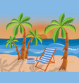 Tropical beach with palms vector image