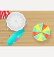 colored sun umbrellas surfboard flip-flops and a vector image