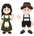 cute couple german waving in national clothes vector image