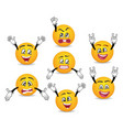 3d funny smileys faces with hands gesture set vector image