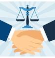 Handshake law business concept in flat design vector image
