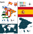 Spain map with regions and flags vector image