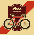 bike repair and shop poster retro design vector image