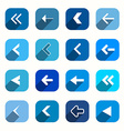 Blue Flat Design Arrows Set in Rounded Squares vector image