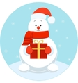 Happy snowman with a gift vector image