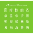Set of White Education Icons on Green Background vector image