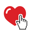 Heart with cursor hand icon - velntines love vector image vector image