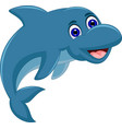 cute cartoon dolphin jumping vector image