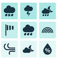 nature icons set collection of rainy colors vector image