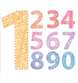 Numbers threads on pins colored vector image vector image