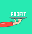 linear hand holding profit on plate vector image