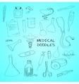 Medical symbols emblems doodle set vector image
