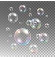 Transparent multicolored soap bubbles set vector image