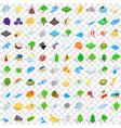 100 ecology icons set isometric 3d style vector image