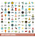 100 flight icons set flat style vector image