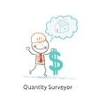Quantity Surveyor holds dollar and thinking about vector image vector image