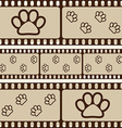 Retro background with film strips and pet paws vector image