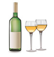 bottle of white wine and glass vector image vector image