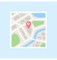Flat Map With Pin vector image